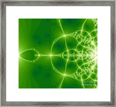 Green Fractal Framed Print by Odon Czintos