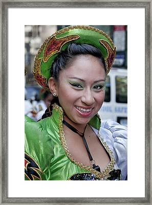 Hispanic Columbus Day Parade Nyc 11 9 11 Female Marcher Framed Print by Robert Ullmann