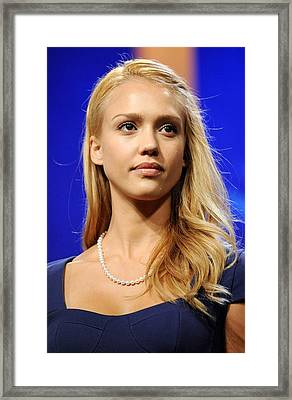 Jessica Alba At A Public Appearance Framed Print