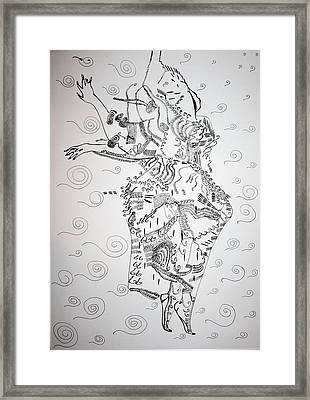 Framed Print featuring the drawing Kiganda Dance - Uganda by Gloria Ssali