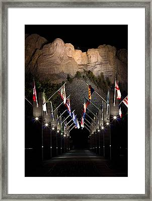 Mount Rushmore At Night Framed Print by Twenty Two North Photography