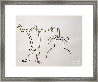 Native American Rock Art Framed Print by Roberto Prusso