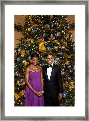 President And Michelle Obama Pose Framed Print by Everett