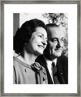 President Lyndon And Lady Bird Johnson Framed Print by Everett