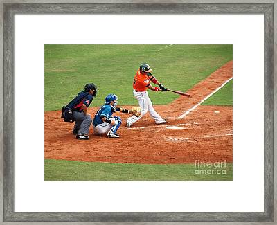 Professional Baseball Game In Taiwan Framed Print