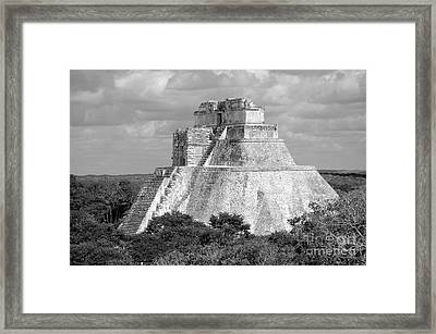 Pyramid Of The Magician At Uxmal Mexico Black And White Framed Print