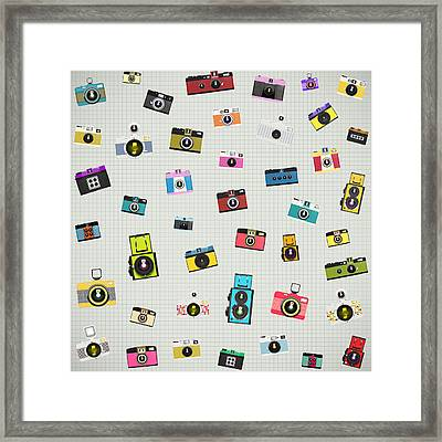 Retro Camera Pattern Framed Print