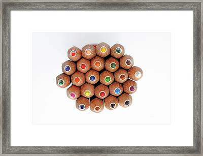 Row Of Colorful Crayons Framed Print by Sami Sarkis