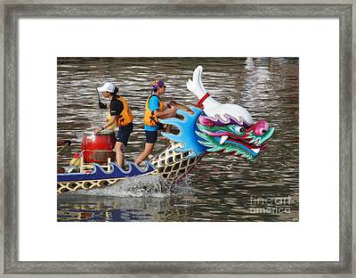 Scene From The Dragon Boat Races In Kaohsiung Taiwan Framed Print by Yali Shi