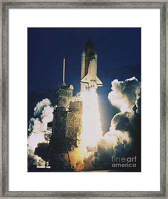 Shuttle Lift-off Framed Print by Science Source