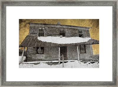 Snowy Abandoned Homestead Porch Framed Print by John Stephens