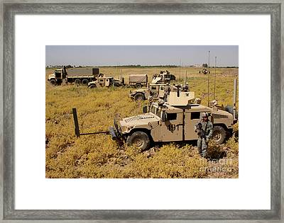 U.s. Army Soldiers Provide Security Framed Print