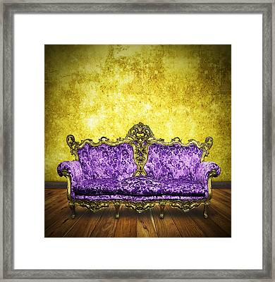 Victorian Sofa In Retro Room Framed Print
