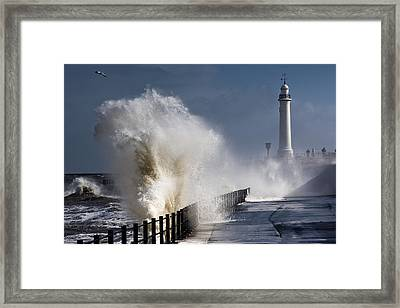 Waves Crashing By Lighthouse At Framed Print