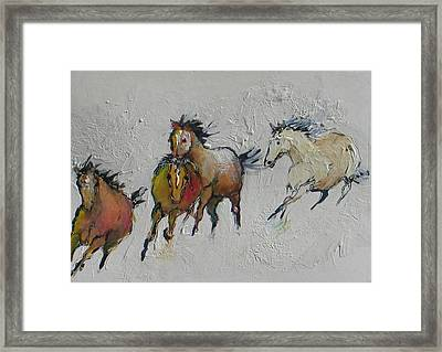 4 Wild Horses Painted Framed Print