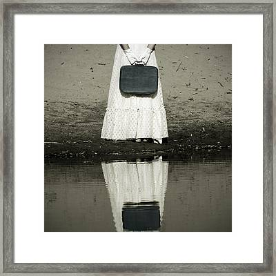 Woman With Suitcase Framed Print