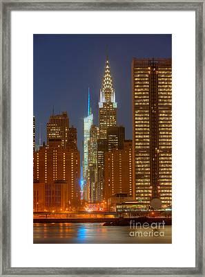 42nd Street Buildings At Twilight I Framed Print