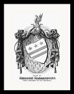 Coat Of Arms Of George Washington Framed Prints