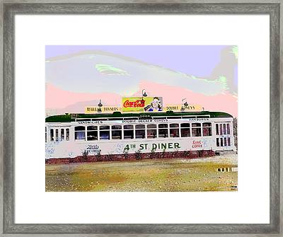 Framed Print featuring the mixed media 4th Street Diner by Charles Shoup