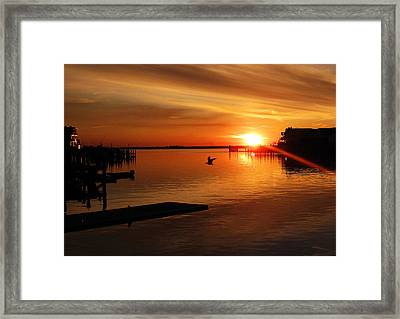 Bay Sunset Framed Print by Mary McCusker