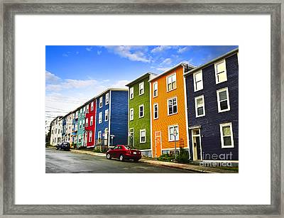 Colorful Houses In St. John's Newfoundland Framed Print by Elena Elisseeva
