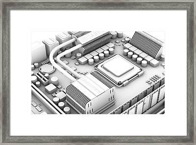 Computer Motherboard, Artwork Framed Print by Pasieka