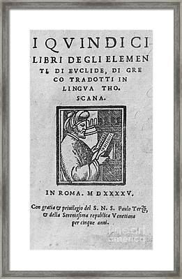 Euclid, Ancient Greek Mathematician Framed Print by Science Source