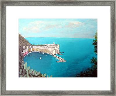 Framed Print featuring the painting 5 Lands Italy by Larry Cirigliano