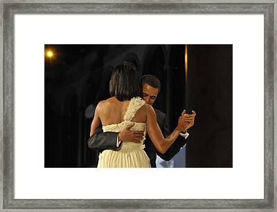 President And Michelle Obama Dance Framed Print