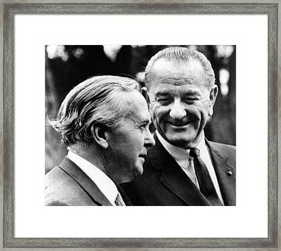 President Lyndon Johnson Meeting Framed Print by Everett