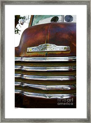 Rusted Antique Chevrolet Car Brand Ornament Framed Print by ELITE IMAGE photography By Chad McDermott