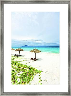 Sandy Tropical Beach Framed Print