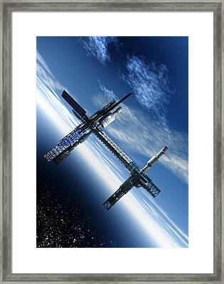 Space Station, Artwork Framed Print by Victor Habbick Visions