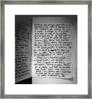 Suicide Note, Written And Signed Framed Print by Everett