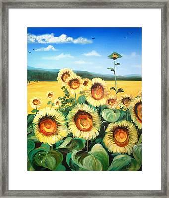 Sunflowers Framed Print by Gina De Gorna