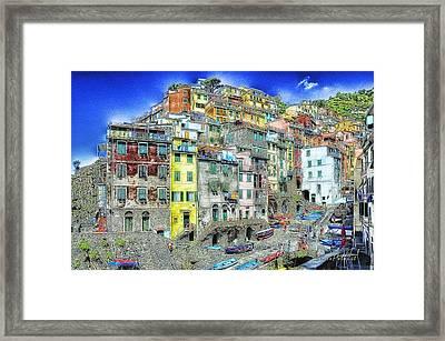 5 Terre Riomaggiore Landscape In Passeggiate A Levante Framed Print by Enrico Pelos