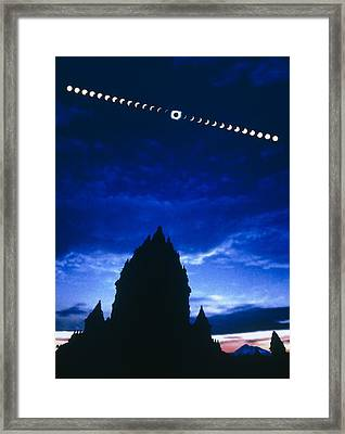 Timelapse Image Of A Total Solar Eclipse Framed Print by Dr Fred Espenak