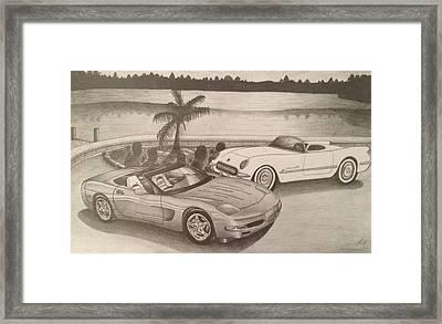 50 Years Of Corvette 1953-2003 Framed Print