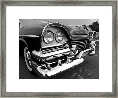 58 Plymouth Fury Black And White Framed Print