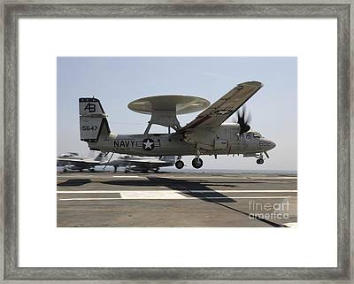 An E-2c Hawkeye Lands Aboard Framed Print by Stocktrek Images