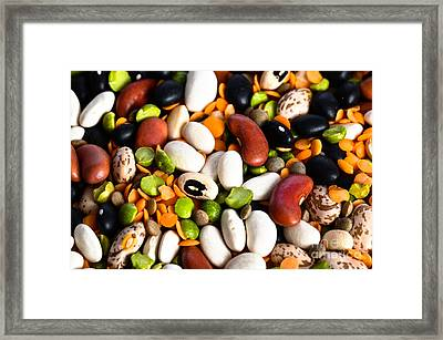 Assortment Of Beans And Lentils Framed Print by Photo Researchers, Inc.