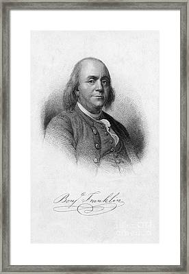 Benjamin Franklin, American Polymath Framed Print by Photo Researchers