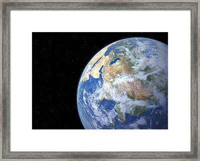 Earth From Space, Artwork Framed Print by Detlev Van Ravenswaay