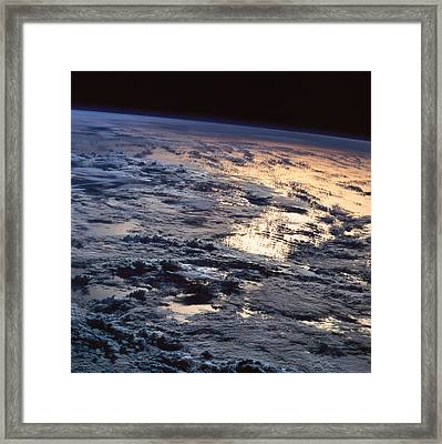 Earth Viewed From A Satellite Framed Print by Stockbyte