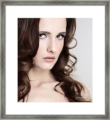 Face Of A Beautiful Girl Framed Print by Iryna Shpulak