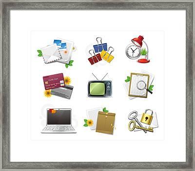 Icon Set Framed Print by Eastnine Inc.