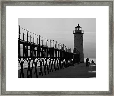 Manistee Michigan Lighthouse And Pier Framed Print by Twenty Two North Photography