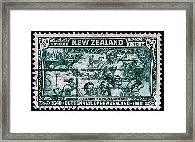 old New Zealand postage stamp Framed Print by James Hill