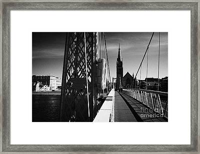 Pedestrian Suspension Footbridge The Greig Street Bridge Over The River Ness Inverness Highland Scot Framed Print by Joe Fox
