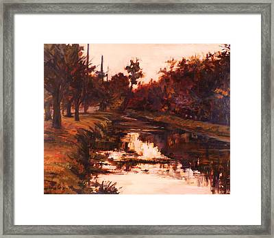 6 Pm On The Canal Framed Print